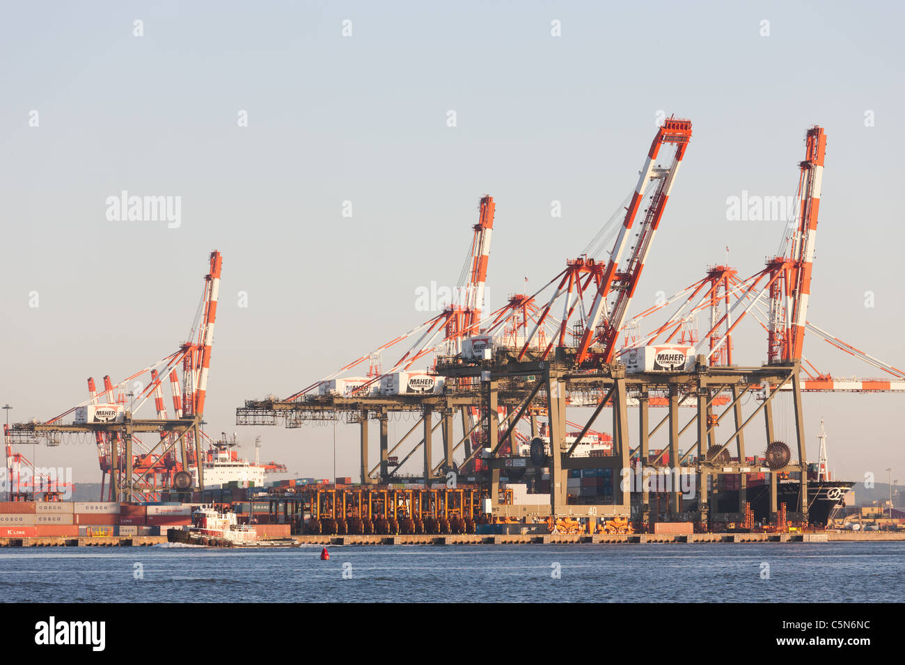 The Maher Terminals container terminal in the Port Newark-Elizabeth Marine Terminal on Newark Bay. - Stock Image