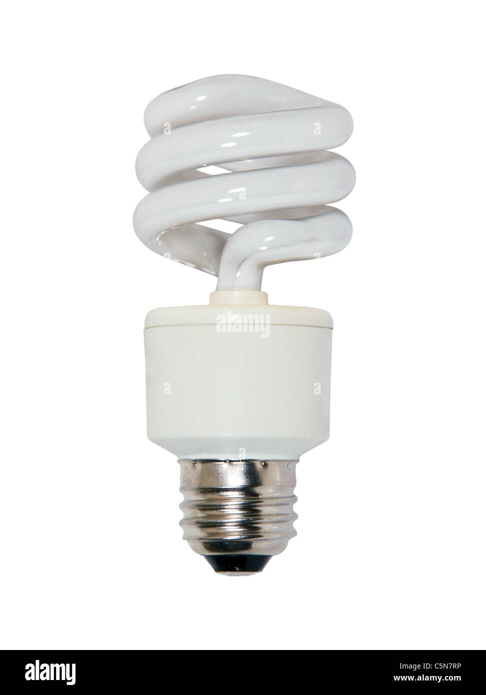 Spiral glass bulb light bulb used to light a room efficiently - Stock Image