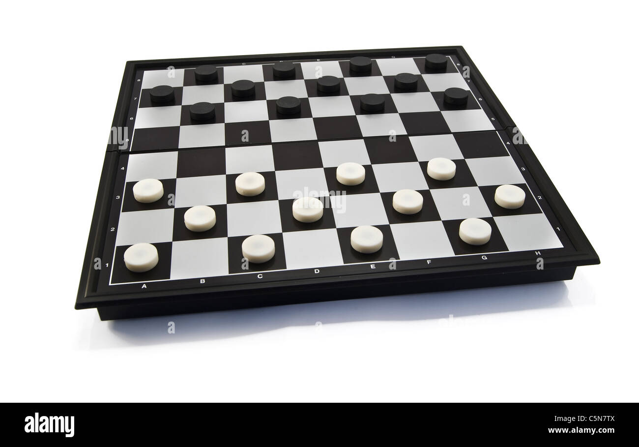 white and black checkers on a checker-board, isolated on white - Stock Image