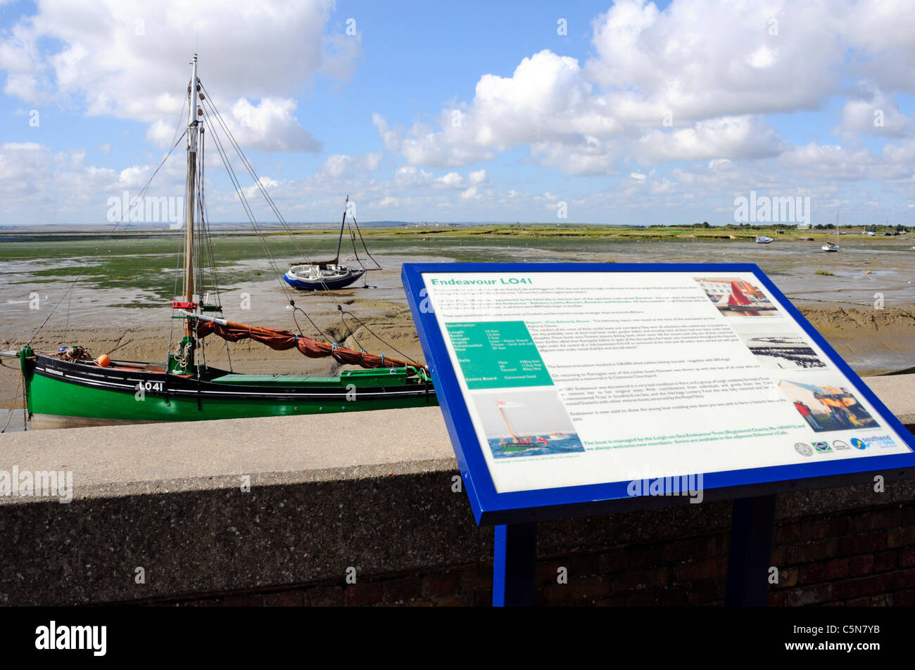 Information panel at Leigh on Sea describing history of one of Dunkirk Little Ships from world war 2 Endeavour LO41 - Stock Image