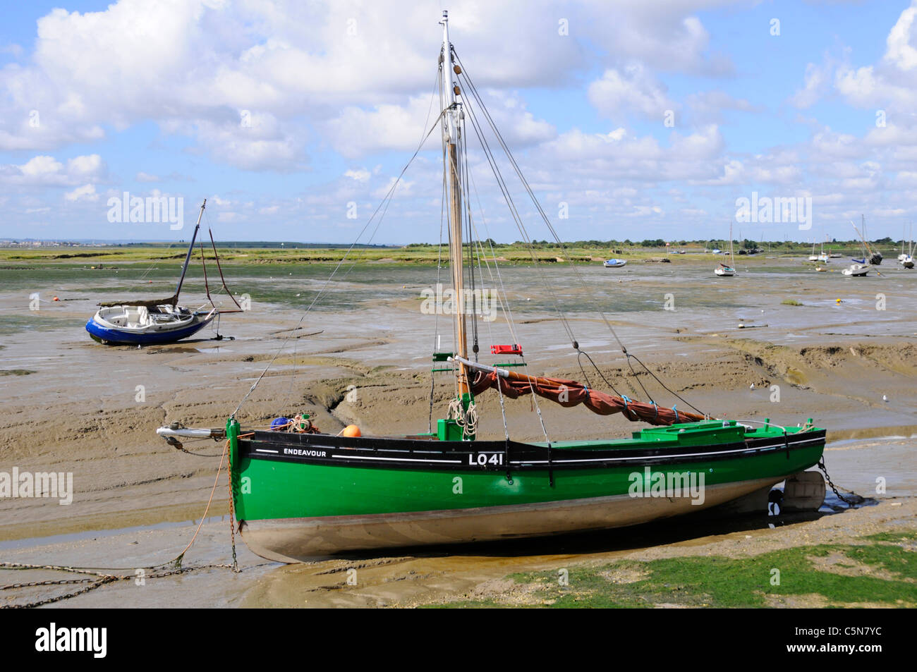 Cockle boat  Endeavour LO41 a Dunkirk 'Little Ships' at Leigh on Sea Essex England UK (see additional information - Stock Image