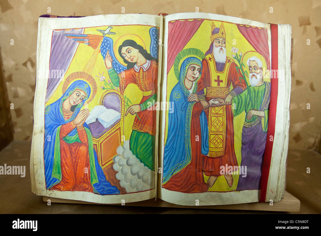 Colourful ancient Christian illustration, St George Museum, Addis Ababa, Ethiopia - Stock Image