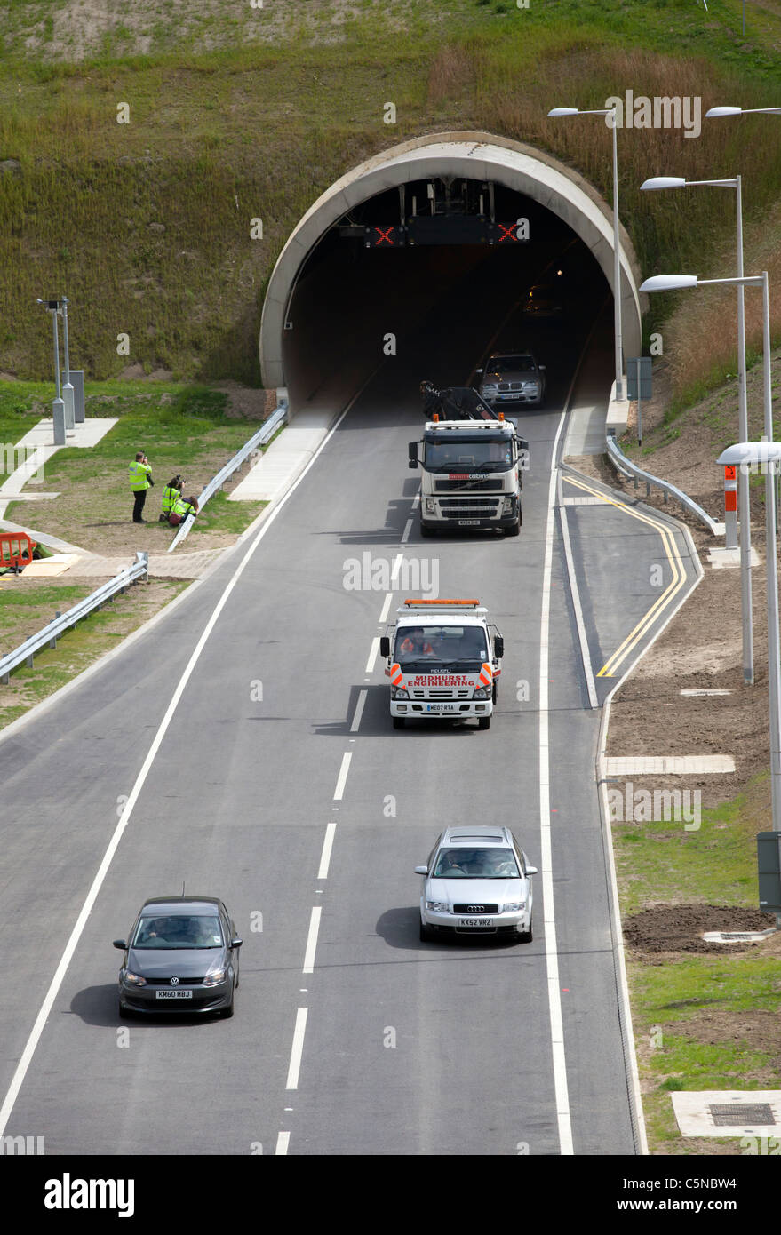 Traffic using the newly opened Southbound A3 Hindhead Tunnel, July 27th 2011 - Stock Image