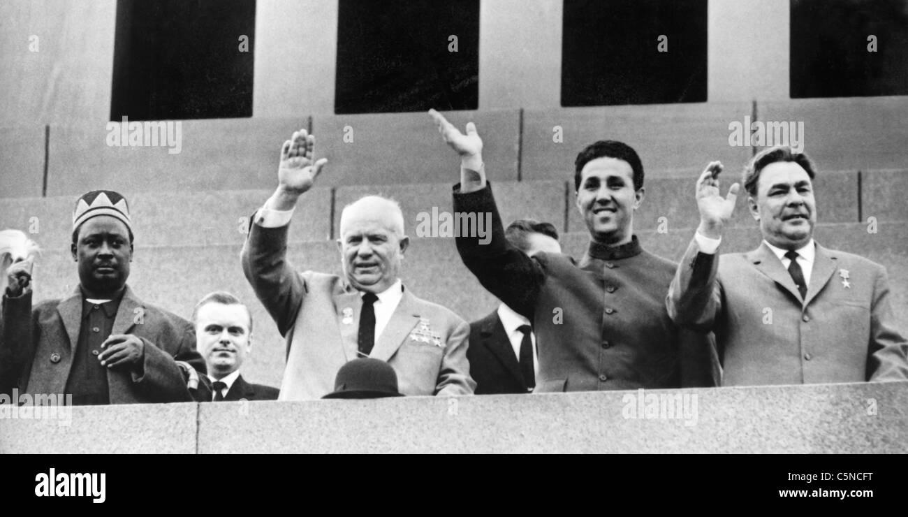 oginga odinga, nikita khrushov, ahmed ben bella, leonida brezhnev, 1964 - Stock Image