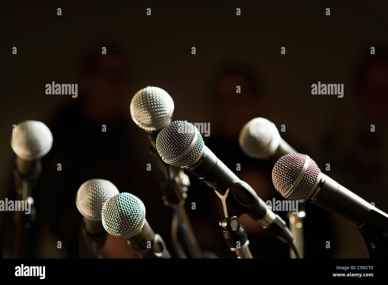 A group of microphones - Stock Image