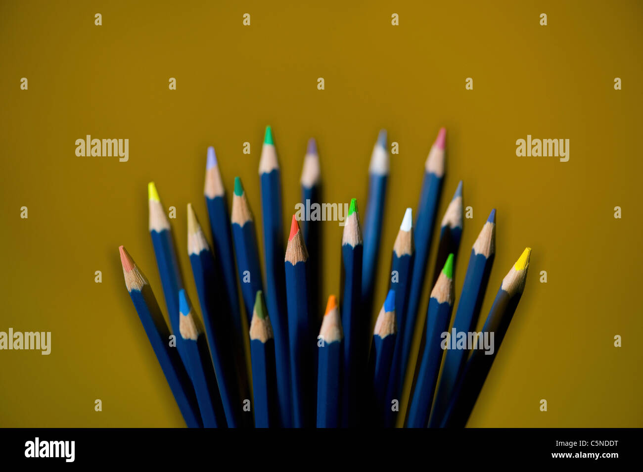 A selection of coloured pencils - Stock Image