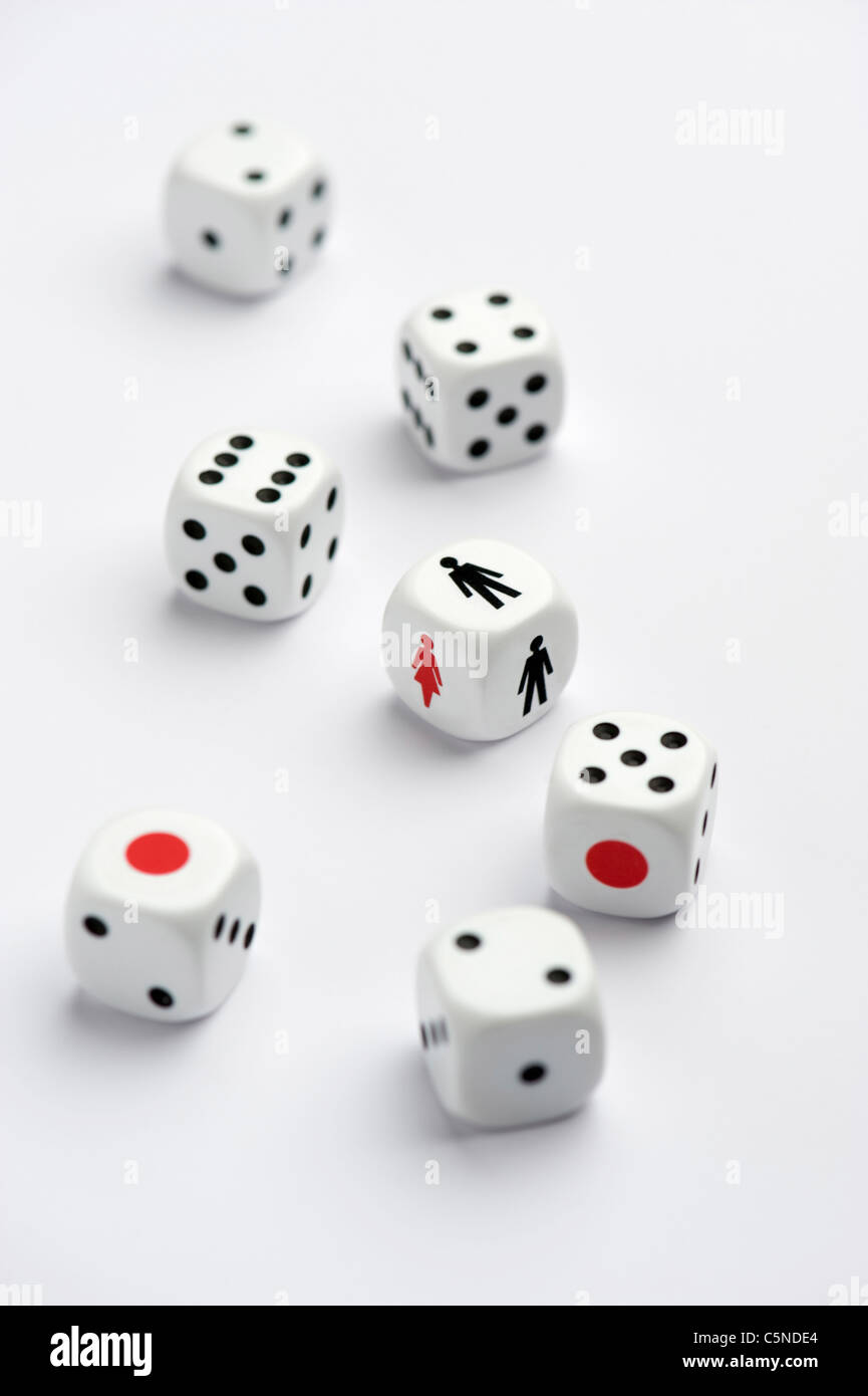 Dice on a white background - Stock Image