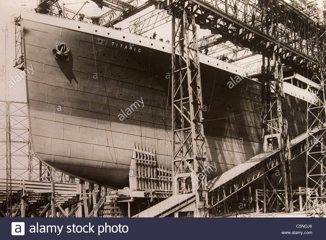 europe, northern ireland, belfast, ulster folk and transport museum, historical picture of the titanic - Stock Image