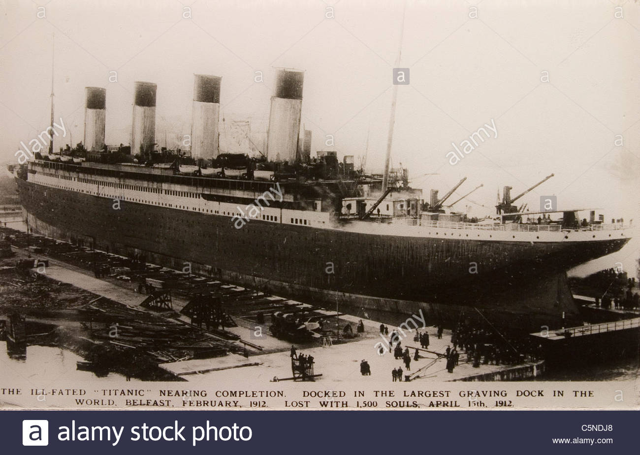 europe, northern ireland, belfast, ulster folk and transport museum, historical picture of the titanic Stock Photo
