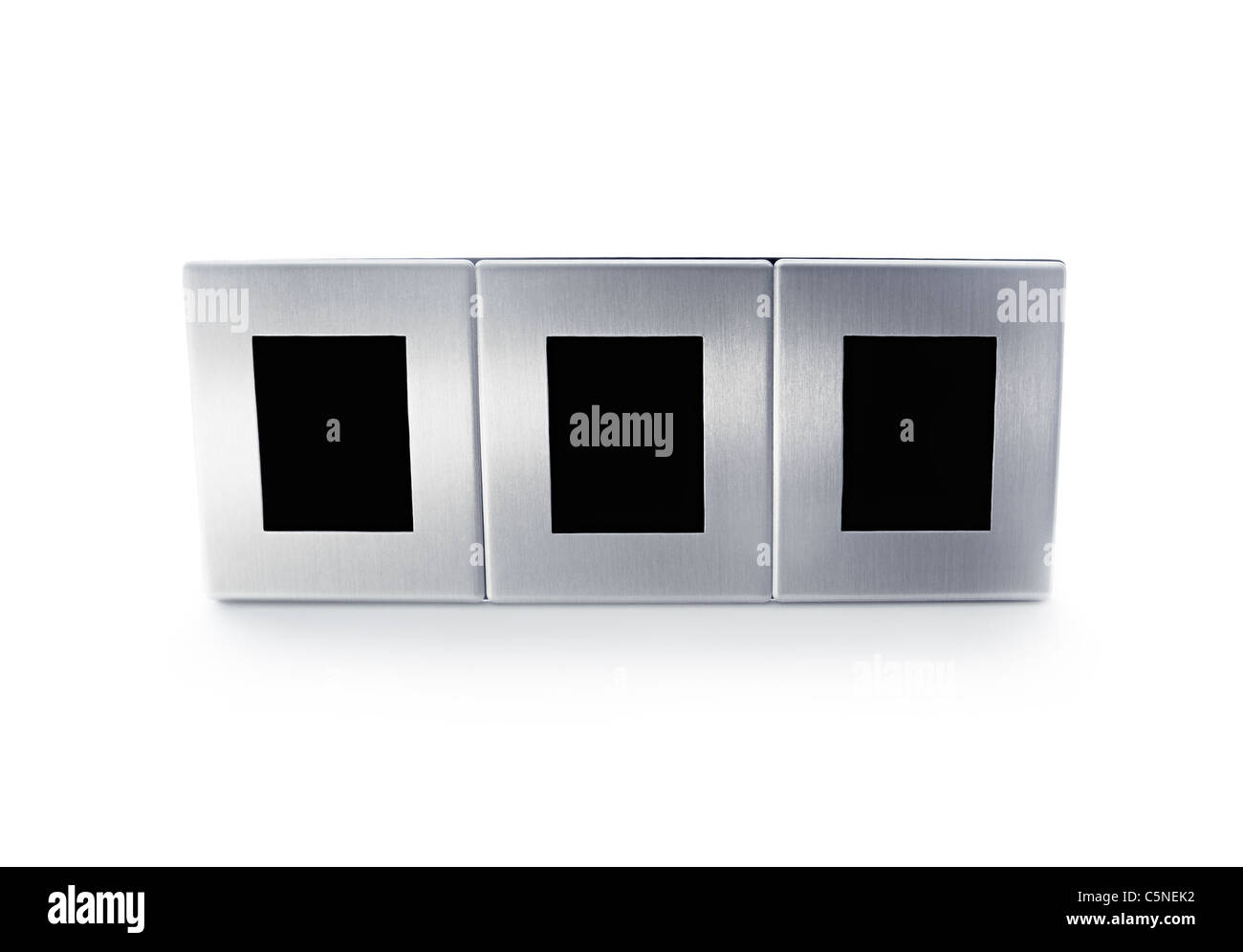 Metallic modern triplex picture frame isolated on white background - Stock Image