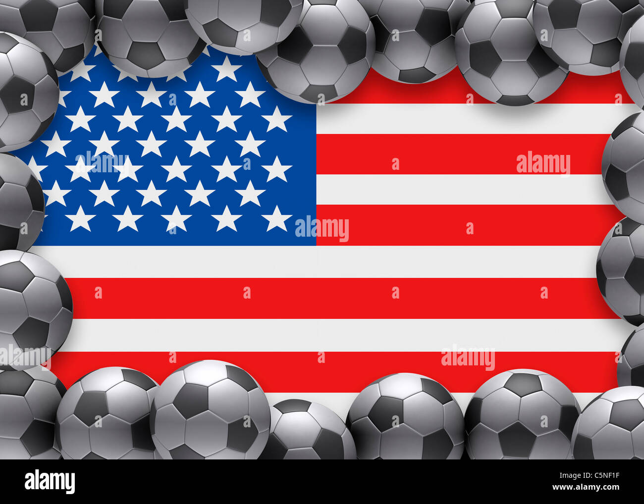 Flag of United States of America USA US football soccer - Stock Image
