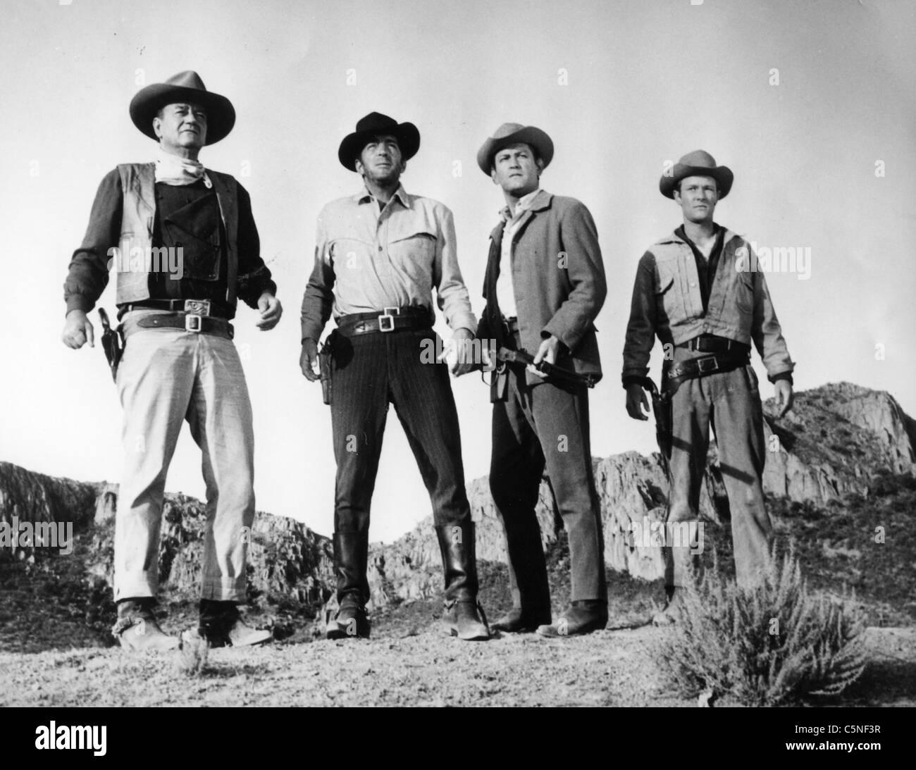 john wayne, dean martin, earl holliman, michael anderson, the sons of katie elder 1965 - Stock Image