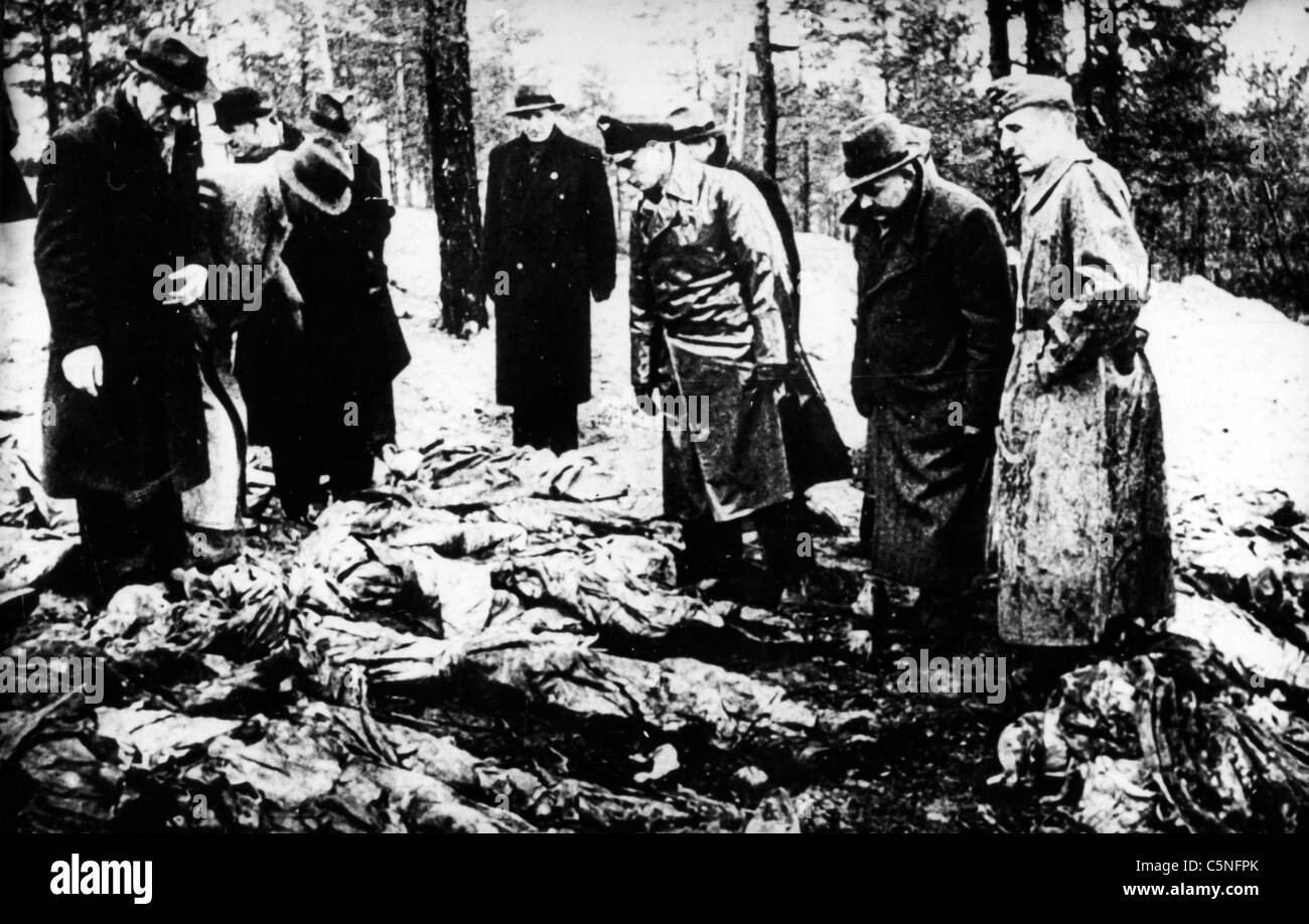 discovery of the cadavers of the Katyn massacre of 1940 - Stock Image