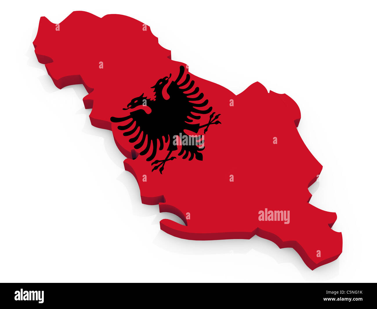 Map of Albania with flag Republic of Albania - Stock Image
