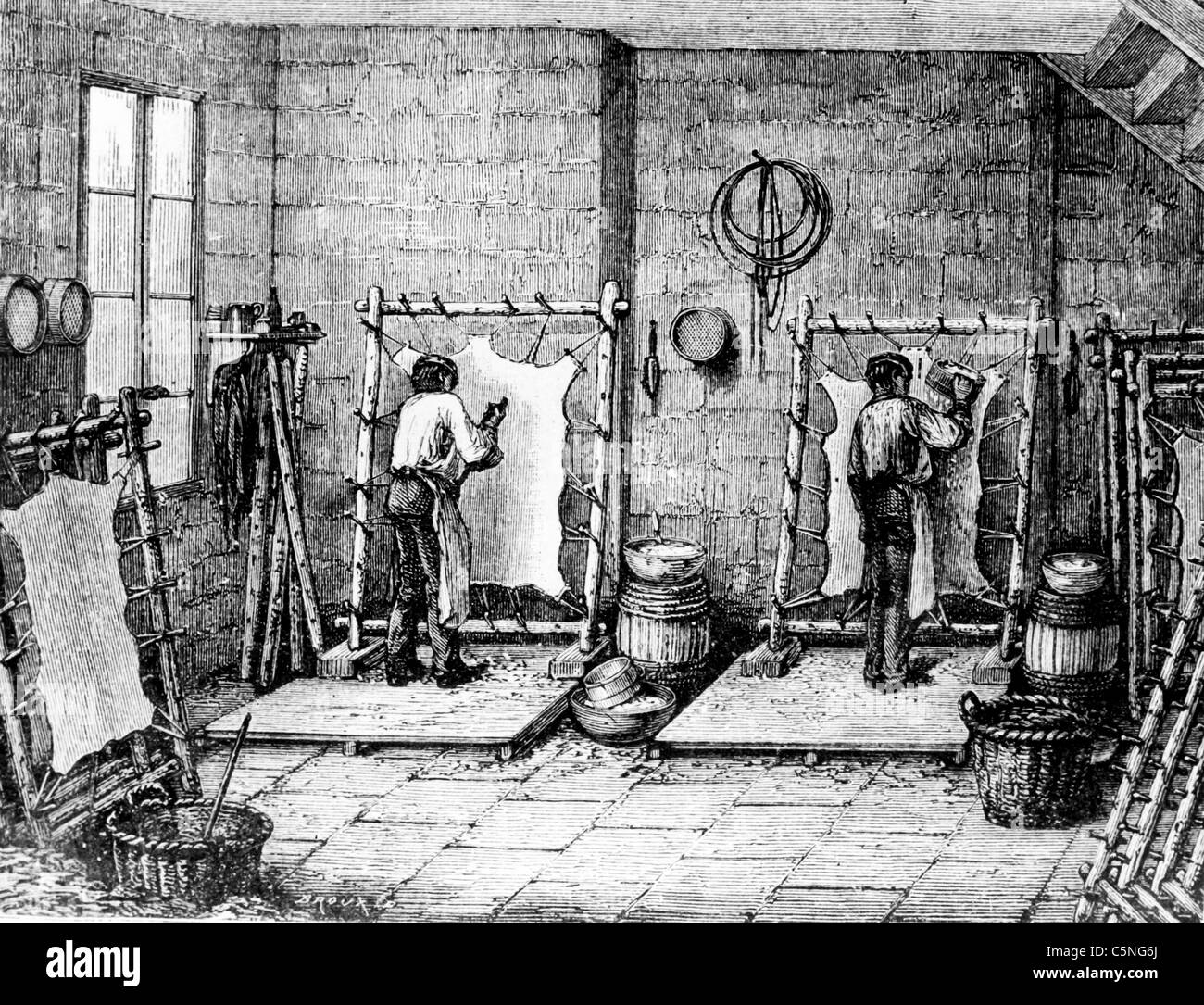 tannery in France, 1750 - Stock Image