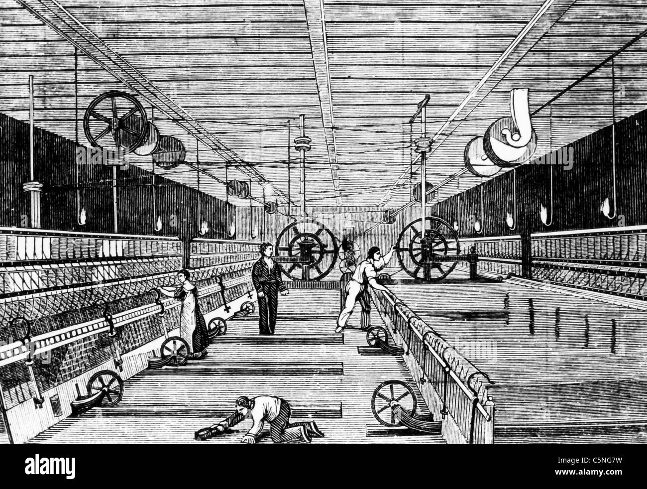 print of a textile mill, France, 700 ' - Stock Image