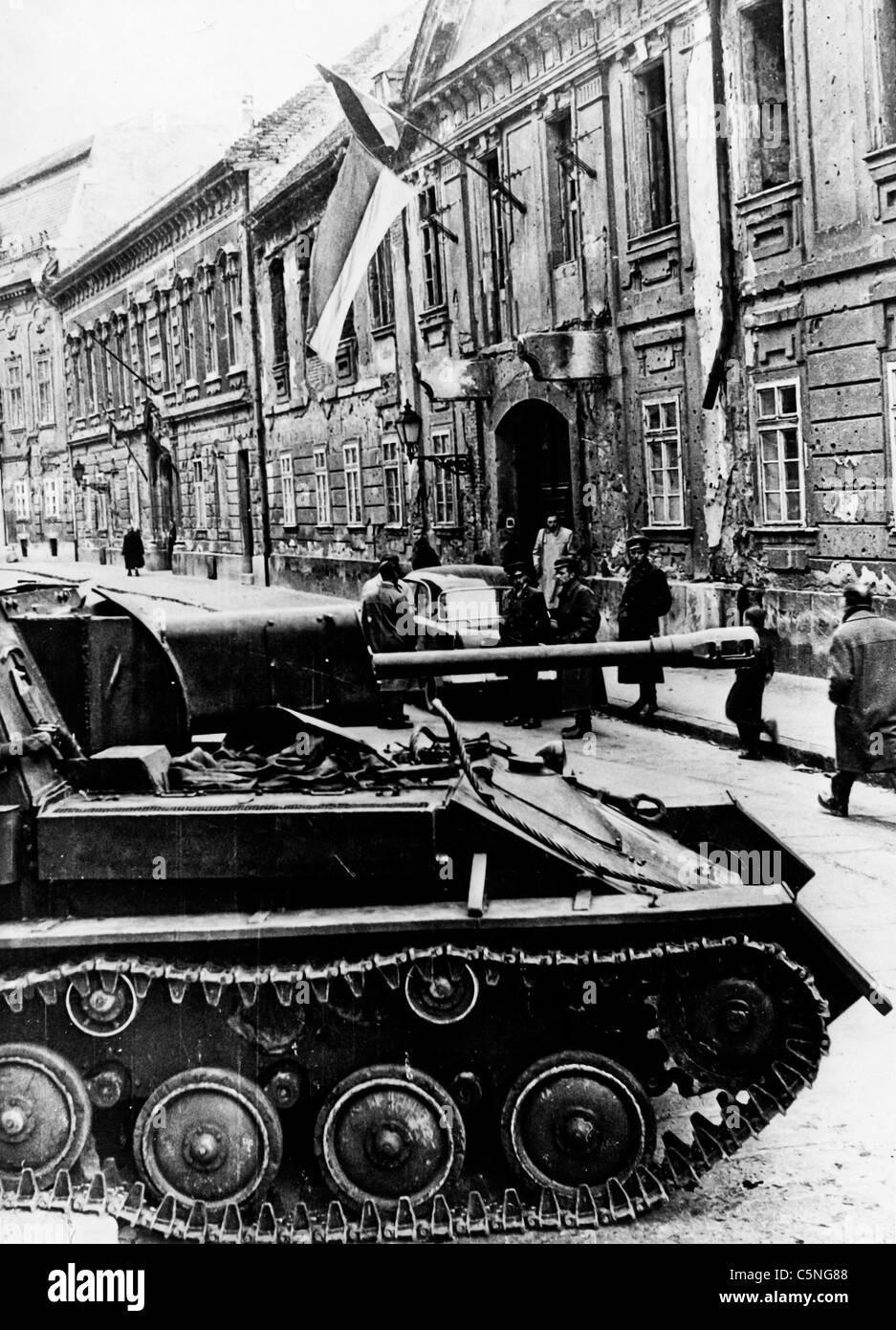 Russian tanks in Budapest, Hungary, 1956 - Stock Image