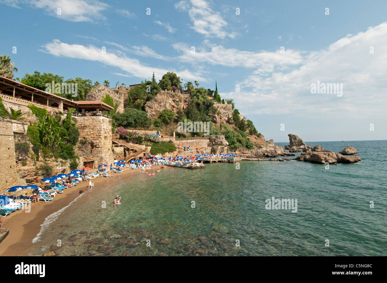 Antalya Turkey old City Town Beach Sea Shore near old Port - Stock Image