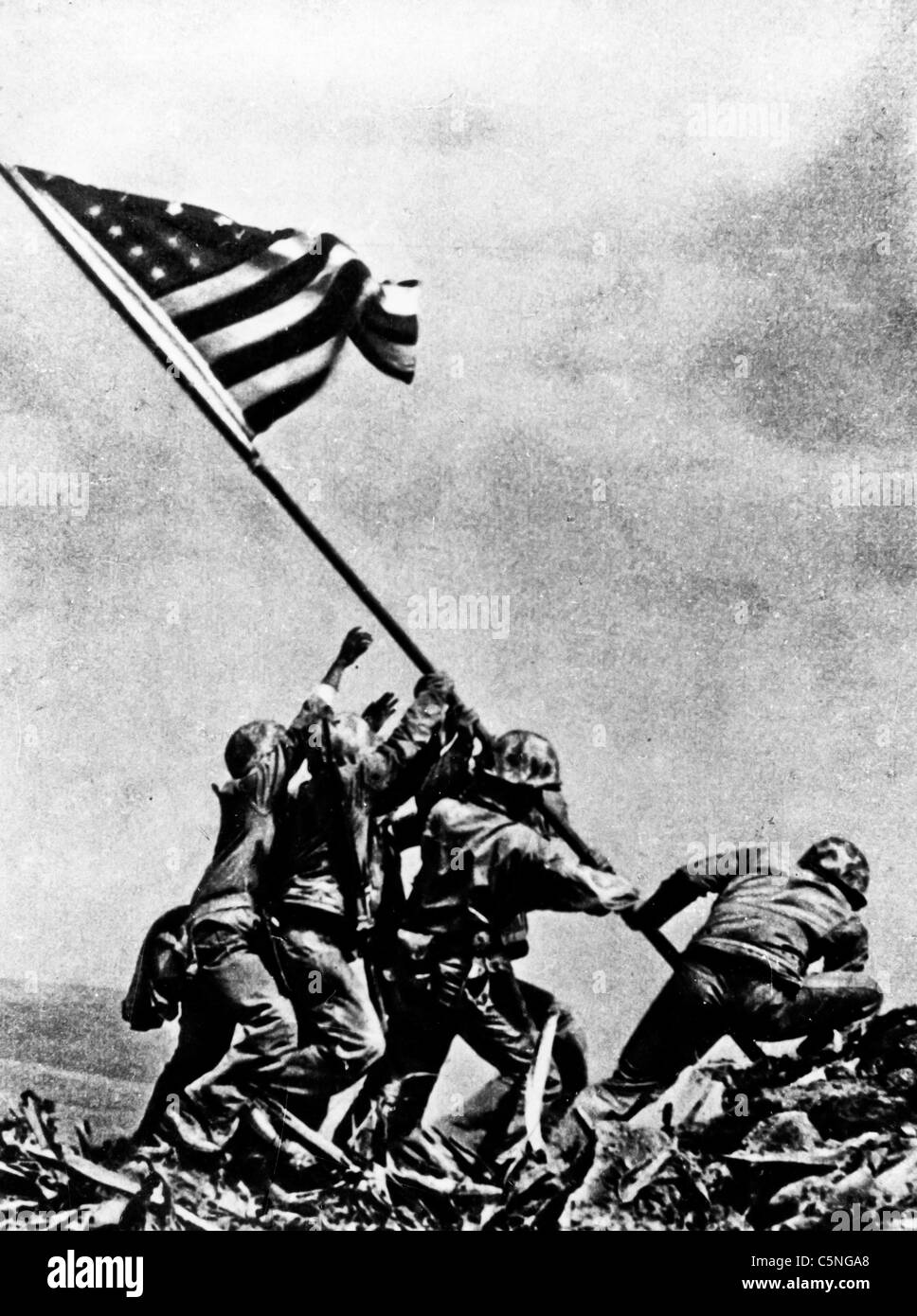 raised the American flag after the battle of Iwo Jima, 1945 - Stock Image