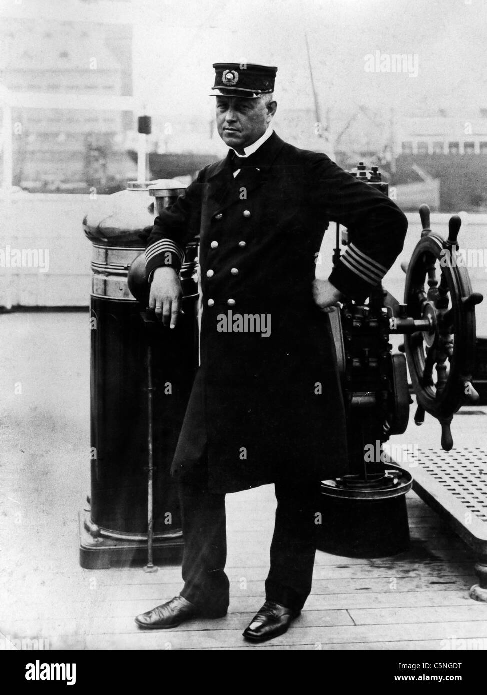 the commander of the Sealand, the first ship built with a diesel engine, Copenhagen, 1912 - Stock Image