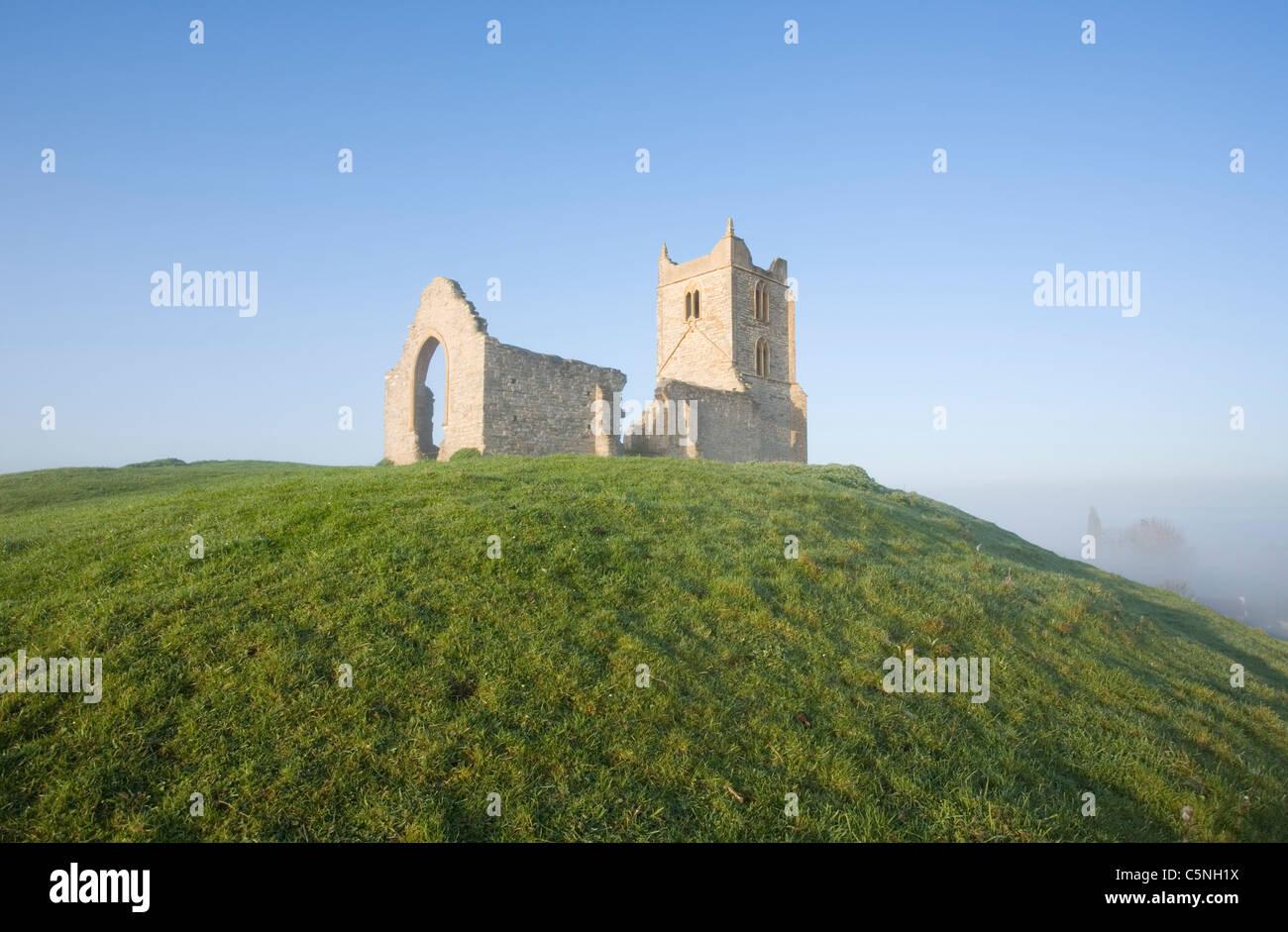 Ruin of St Michael's Church on Burrow Mump. Somerset. England. UK. - Stock Image