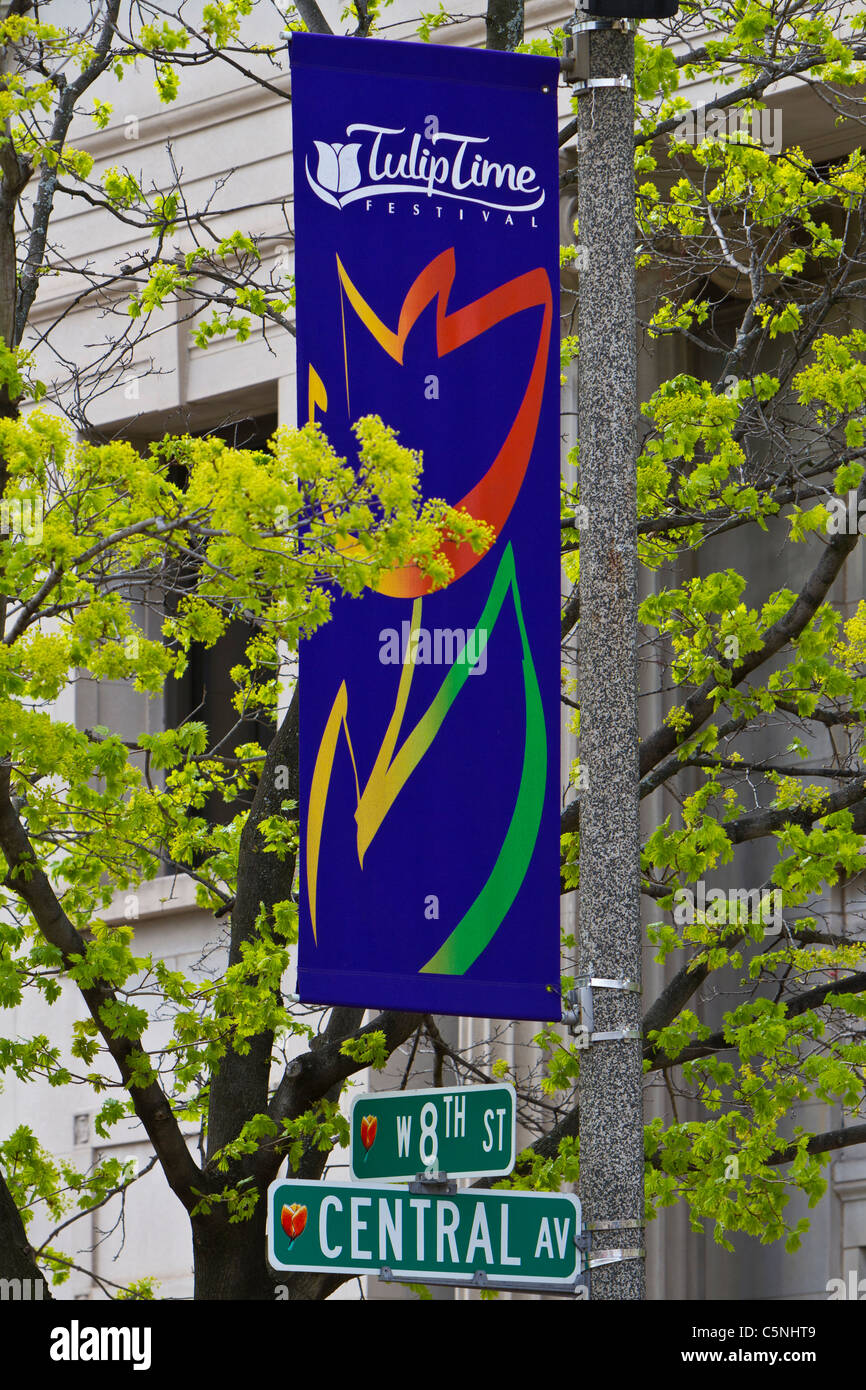 The Tulip Time festival banner on the streets of Holland, Michigan, USA. - Stock Image