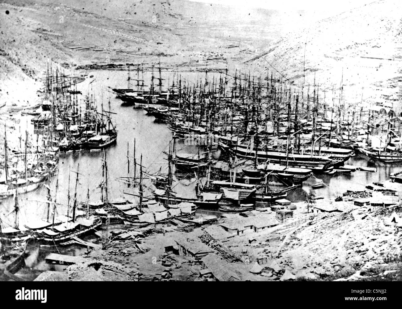 CRIMEAN WAR  Port of Balaclava photographed by Roger Fenton in 1855 showing Allied shipping - Stock Image