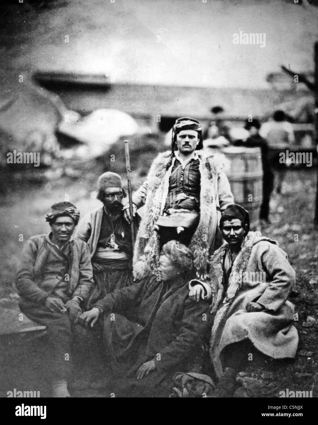 CRIMEAN WAR (1853-1856) Turkish and Bulgarian soldiers photographed by Roger Fenton - Stock Image