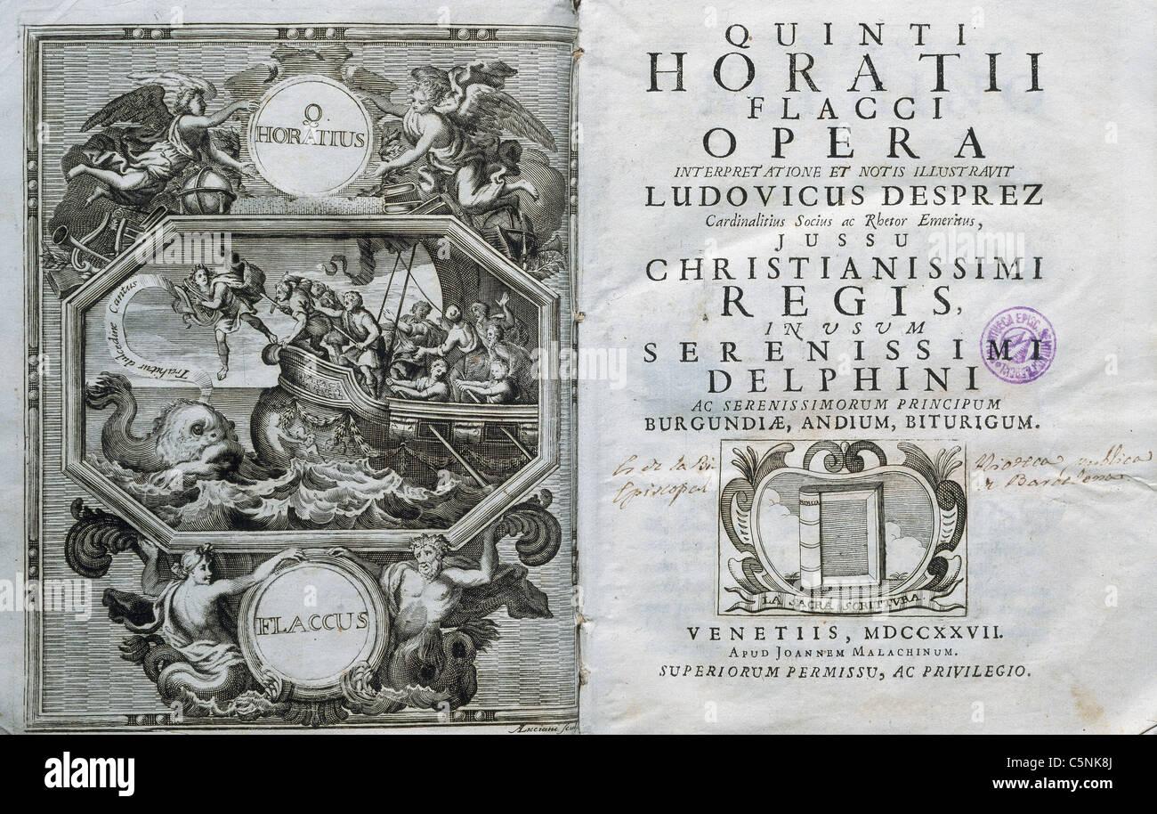 Horace (65-8 B.C.). Roman lyric poet during the time of Augustus. Opera. 18th century. - Stock Image