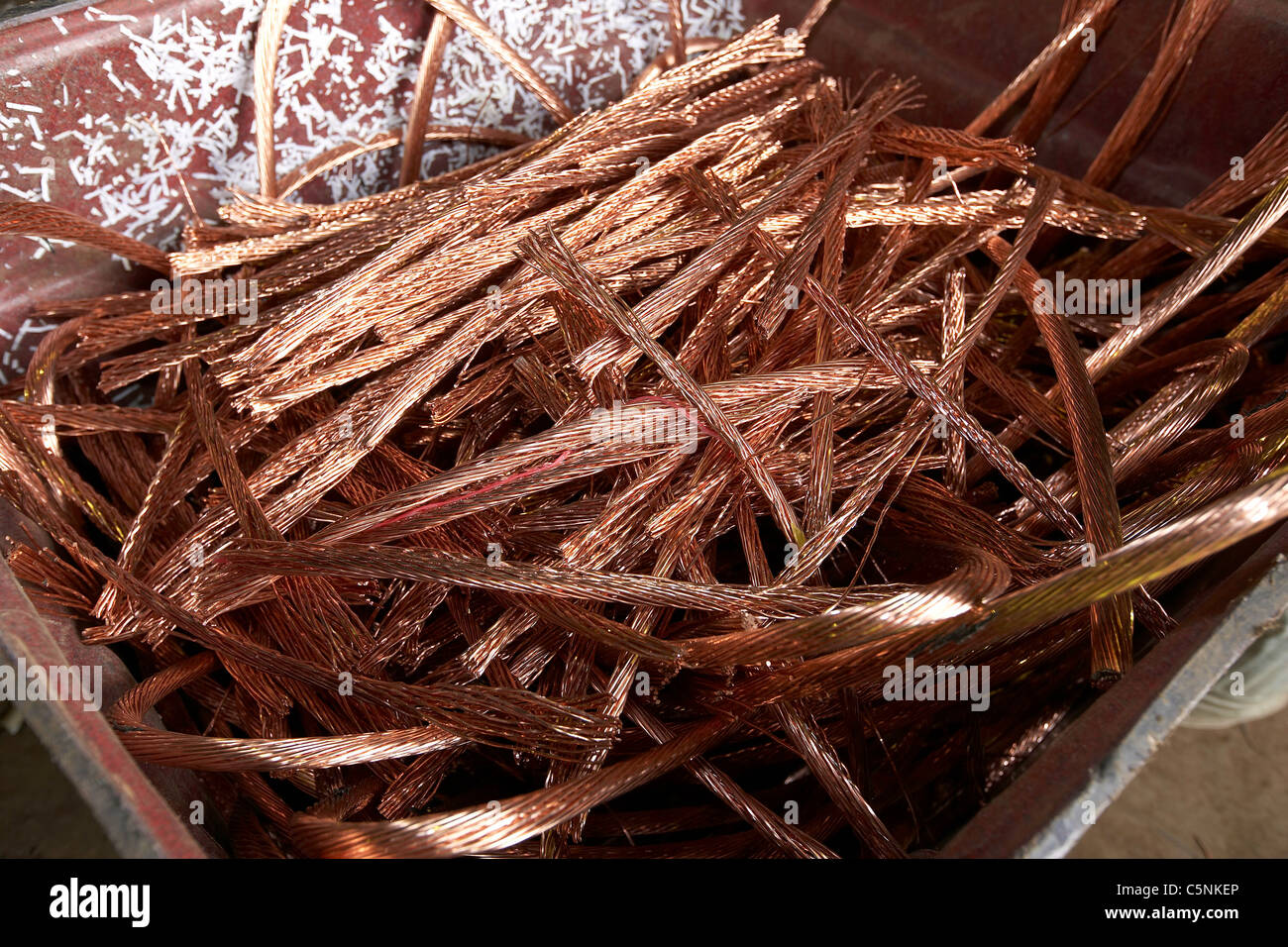 Copper wire ready for recycling in a scrapyard, uk Stock Photo ...