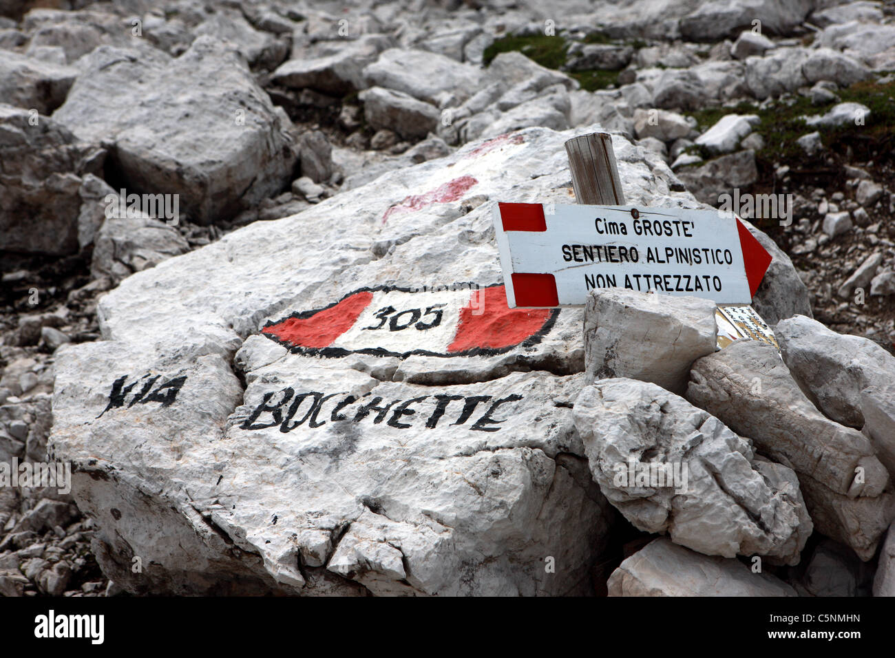 Route signs in the Brenta Dolomites in the Northern Italian alps - Stock Image