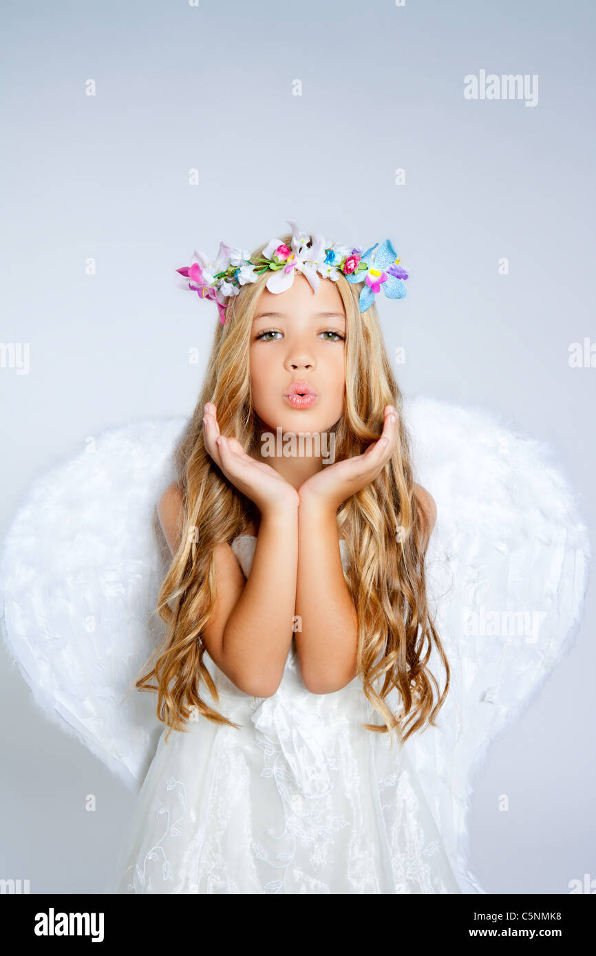 Angel little girl blowing expression with wings and flowers crown angel little girl blowing expression with wings and flowers crown izmirmasajfo Gallery