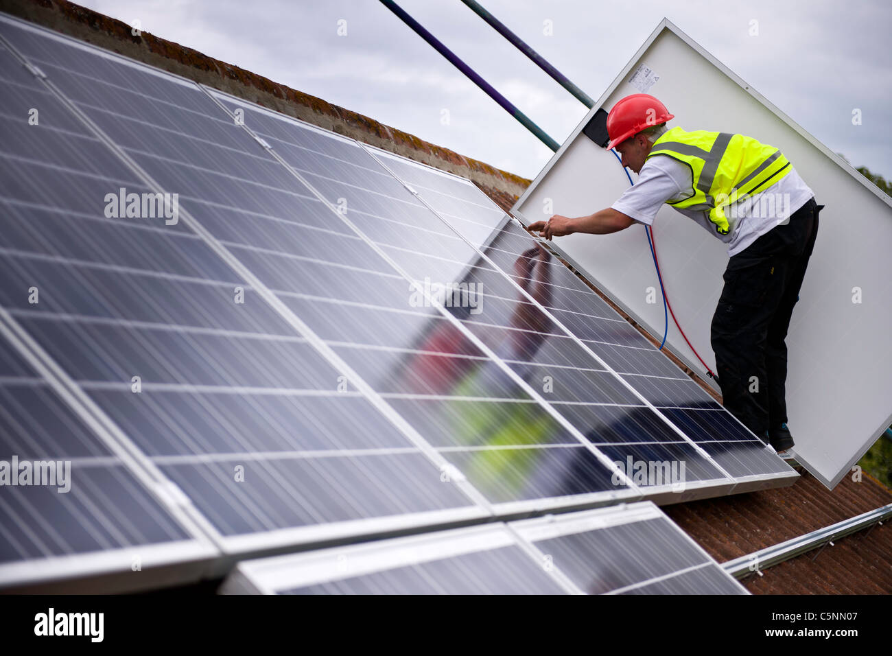 UK Solar Installation - Stock Image