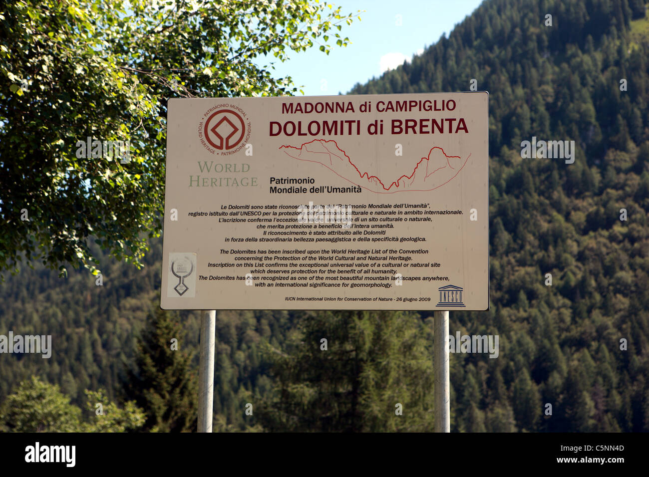 Sign outside Madonna di Campiglio recognising that the Italian Dolomites are on the World Heritage List - Stock Image