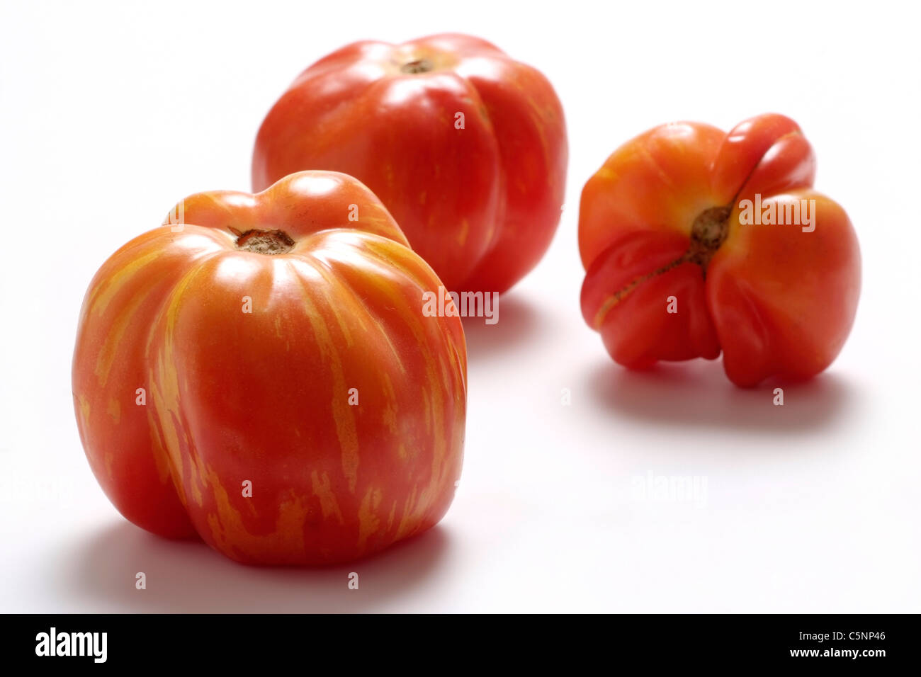 Tomato varieties: Shimmeigs striped hollow - Stock Image
