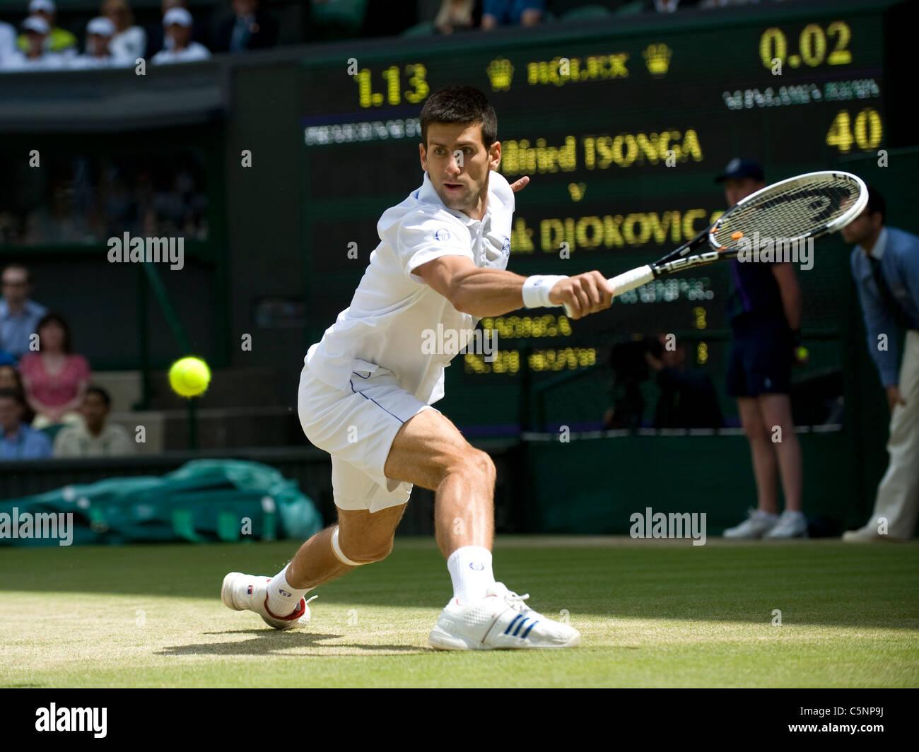 Novak Djokovic (SRB) in action during the Wimbledon Tennis Championships 2011  - Stock Image
