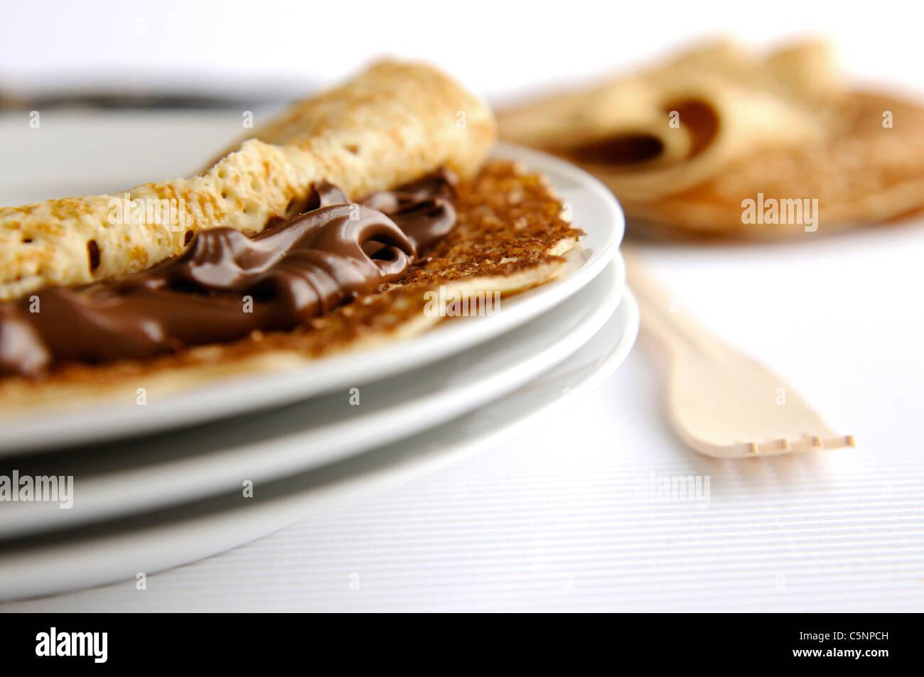 Pancake with chocolate cream - Stock Image