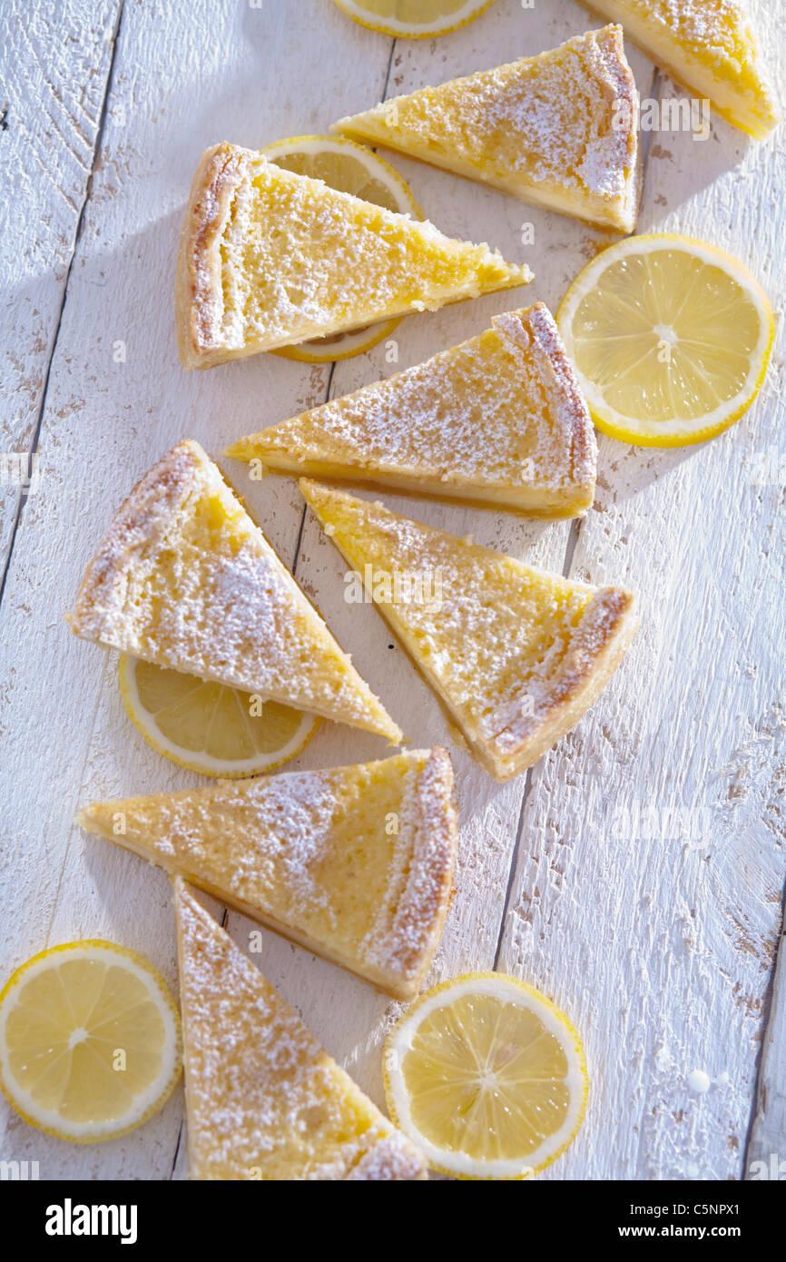 Pieces of lemon tart - Stock Image