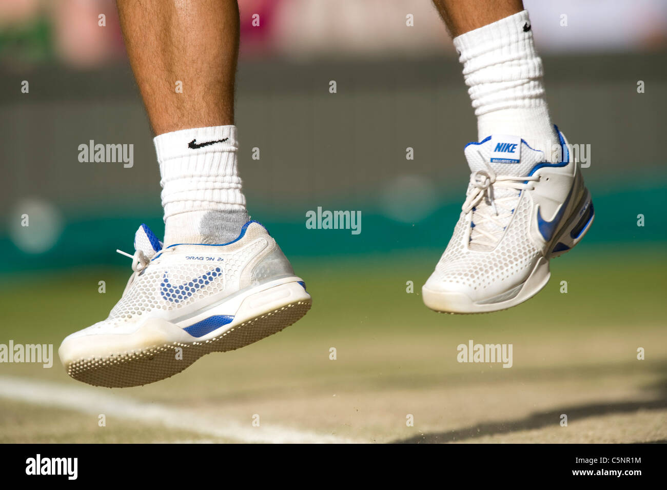 Rafael Nadal Esp Shoe Detail While Serving During The Wimbledon Stock Photo Alamy