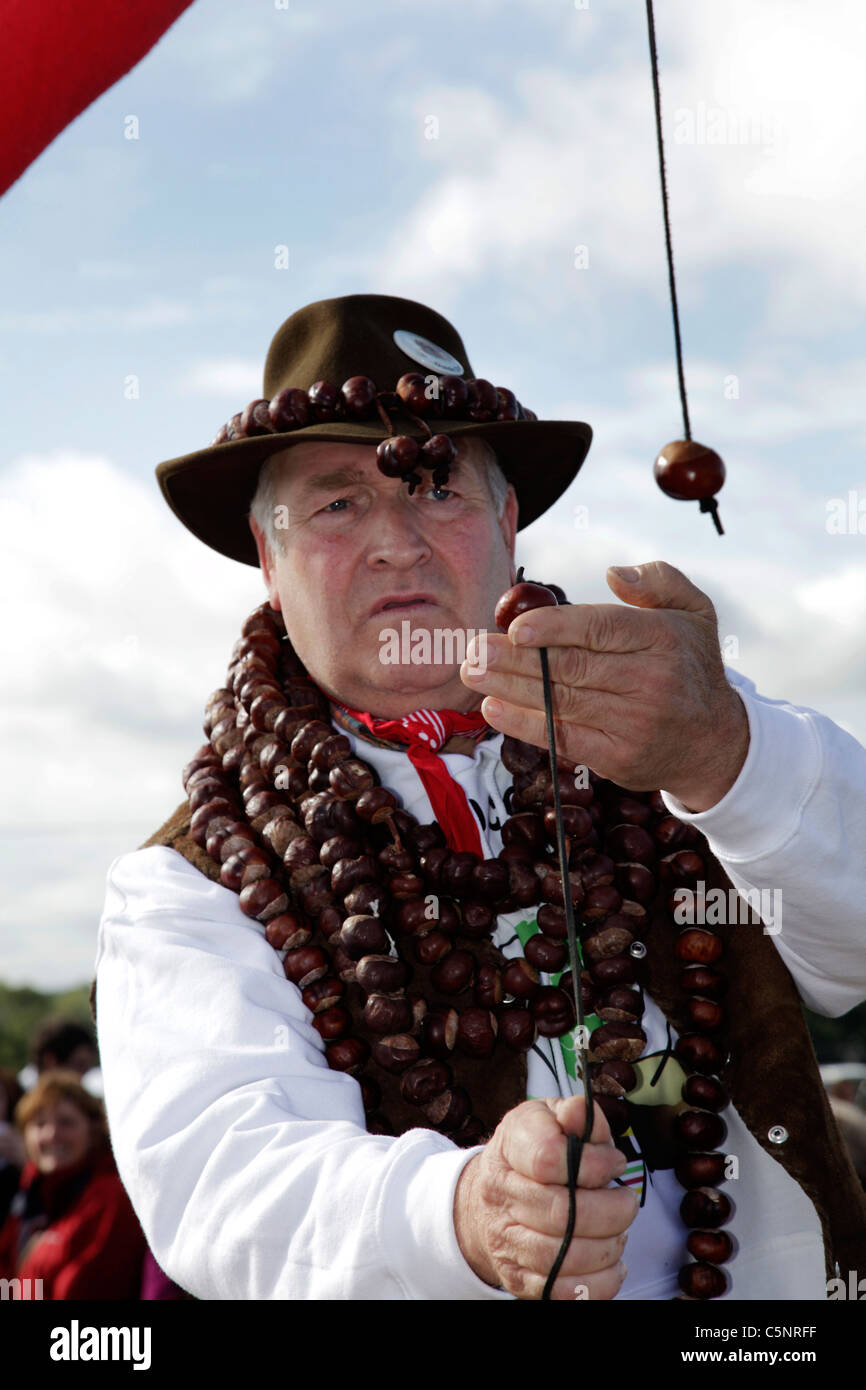A man playing conkers at The World Conker Championship, held in October at Oundle,Northamptonshire - Stock Image
