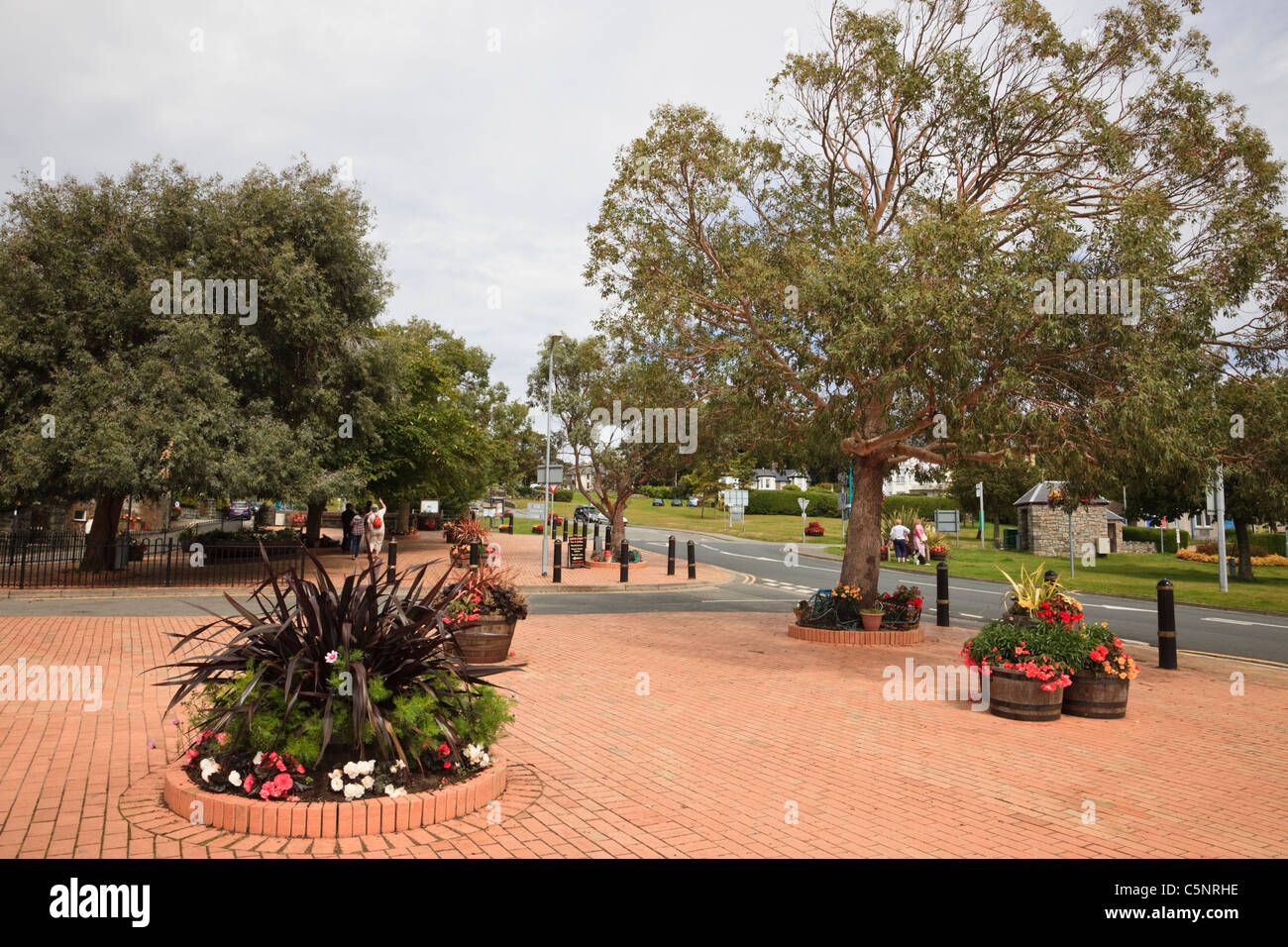 Y Maes, Criccieth, Llyn Peninsula, Gwynedd, North Wales, UK. Block paved square with flower tubs and trees in summer - Stock Image