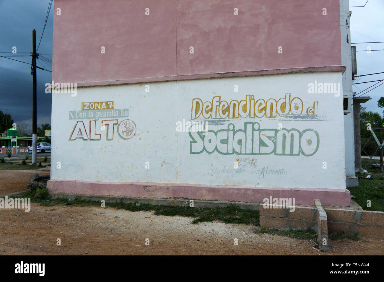 Apartment building CDR (Committees for the Defense of the Revolution) sign, Playa Giron, Cuba - Stock Image