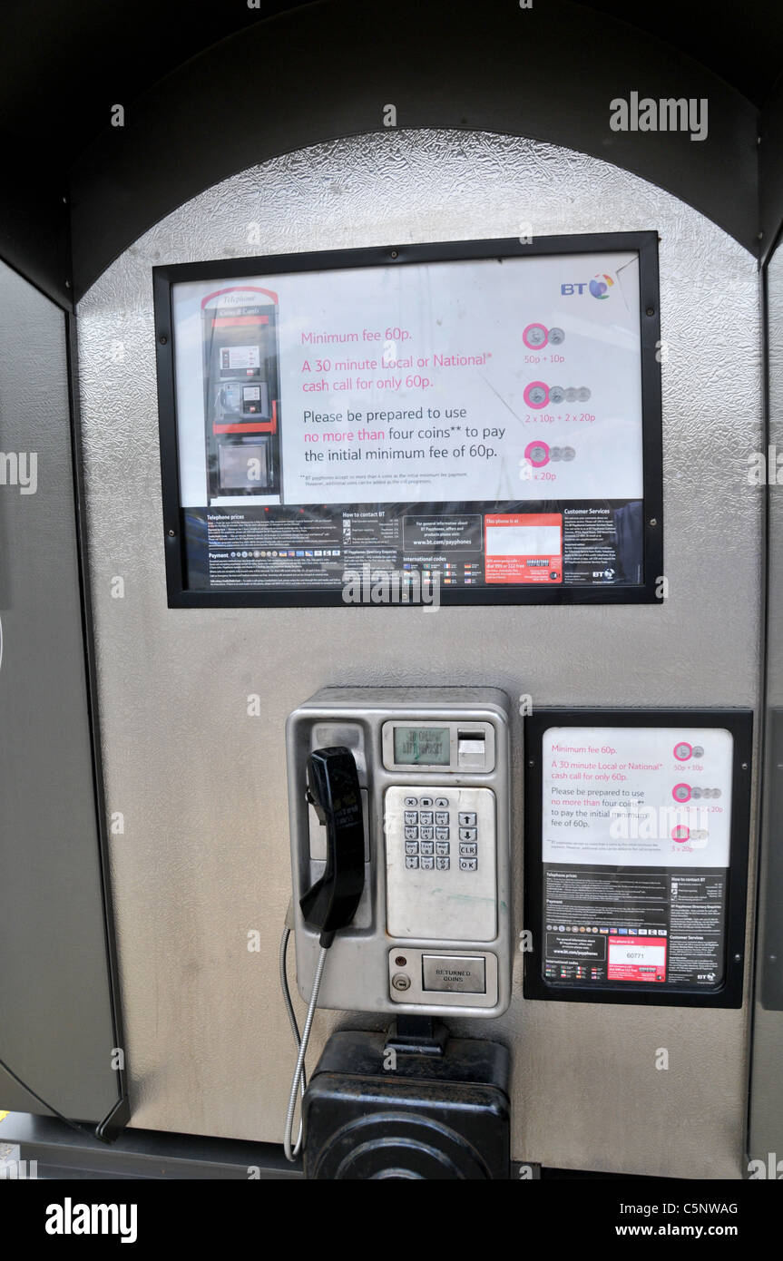 BT Telephone call box land line payphone kiosk public payphone - Stock Image