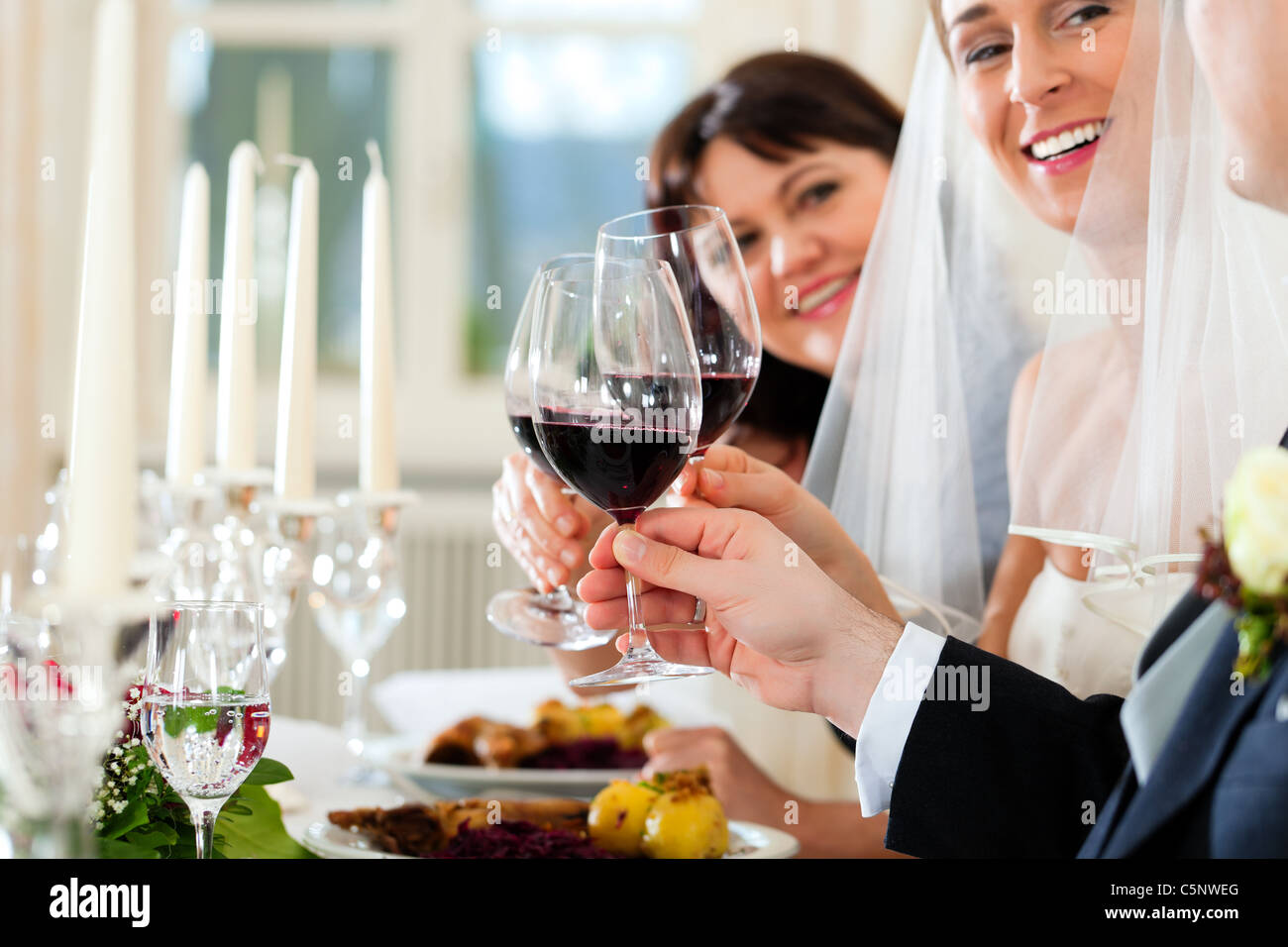 Wedding party at dinner - the bridal couple with guests - Stock Image