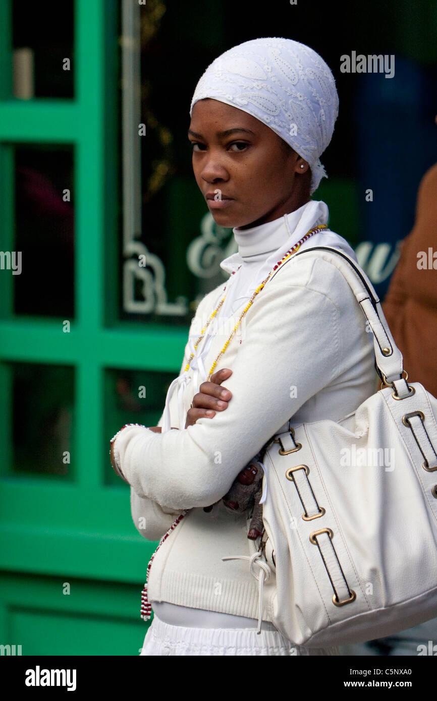 Cuba, Havana. Afro-Cuban Santeria Adherent. - Stock Image