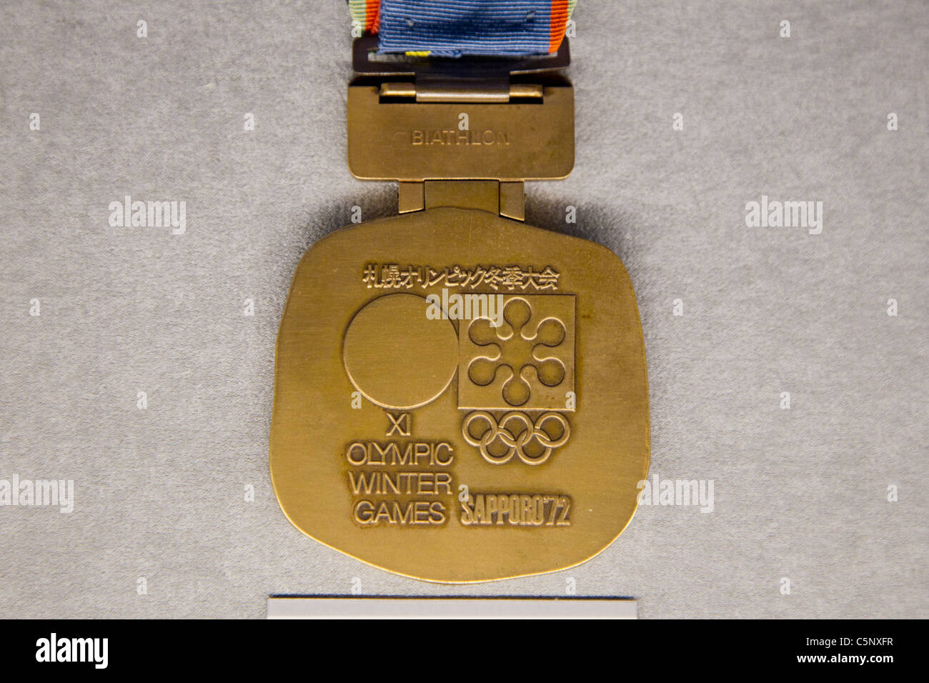 Bronze medal for Sapporo winter Olympics : History of the Olympics in Japan. at Japan Mint in Osaka. - Stock Image