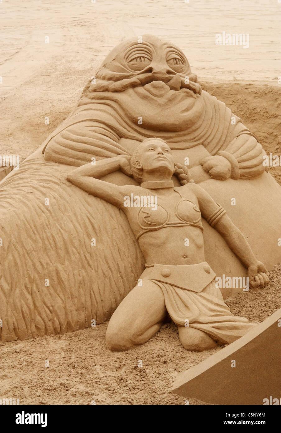 star wars sand sculpture on beach in spain stock photo 37976364 alamy