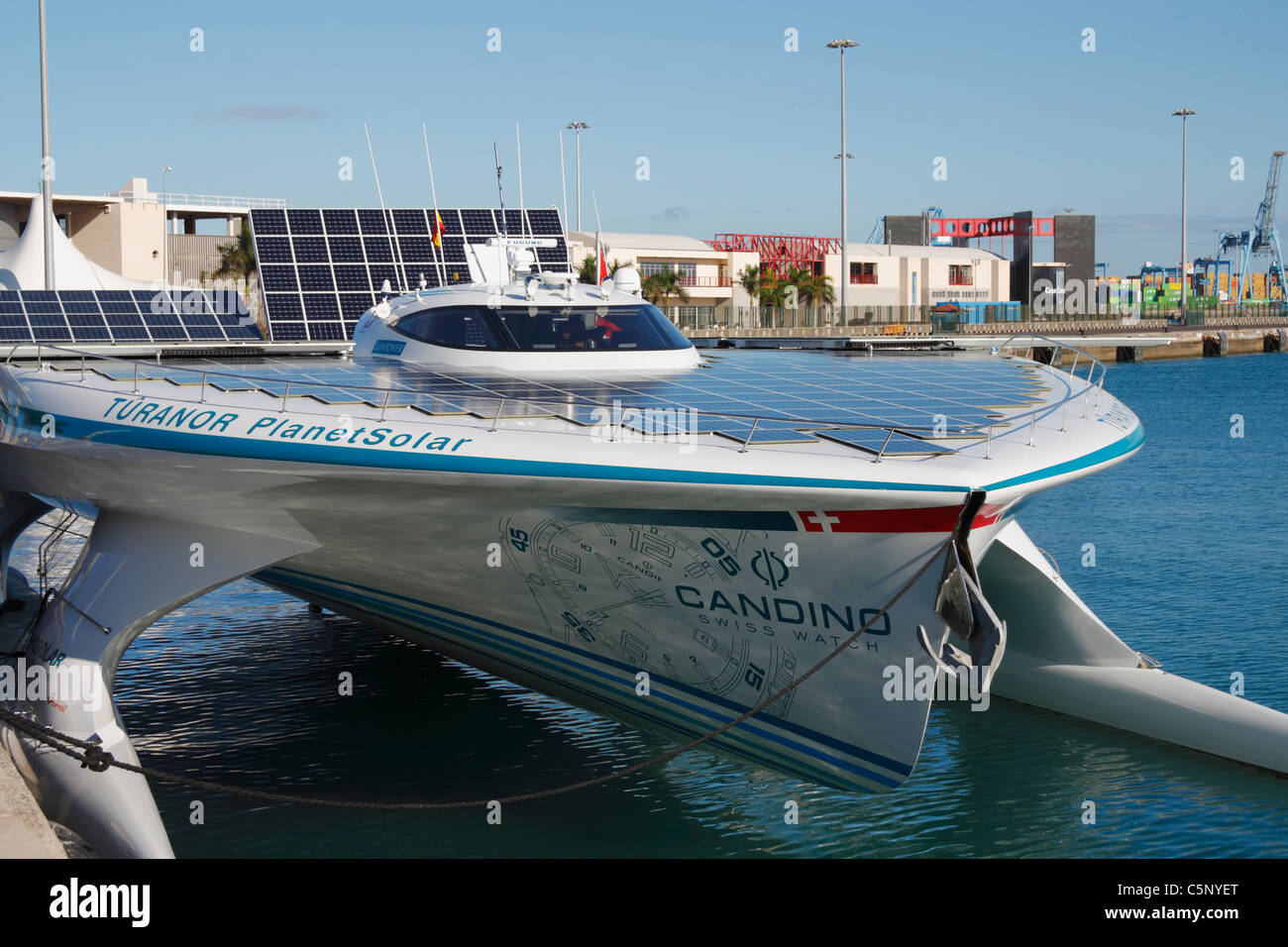 Solar panels on the world's largest solar powered boat, 'Turanor Planet Solar'. Circumnavigating the - Stock Image