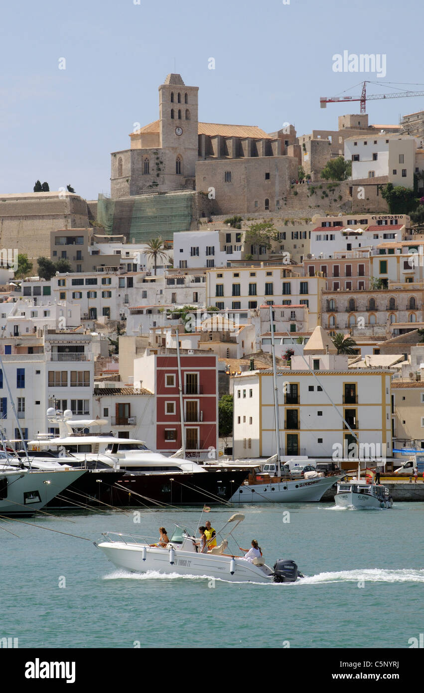 Eivissa Port Ibiza Island overlooked by the old town & Cathedral - Stock Image