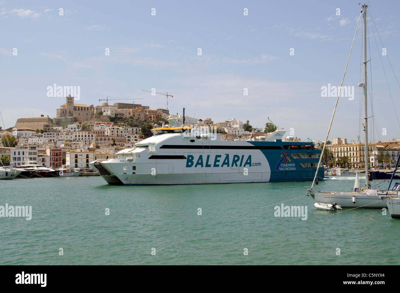 Eivissa Port Ibiza Island inter island passenger & roro vehicle ferry Nike arriving in port enroute from Formentera - Stock Image